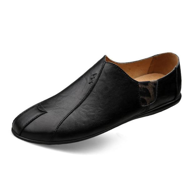 Men 's Casual Soft Round-Toe Genuine Leather Flats