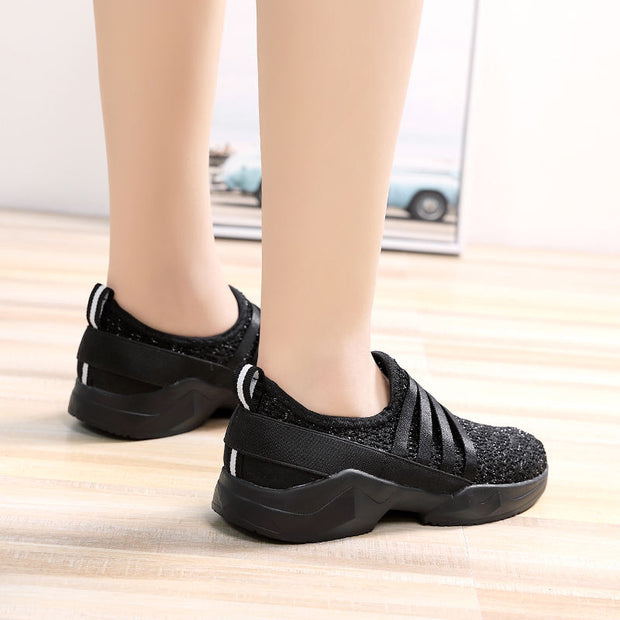Women Breathable Knit Ballet Slip-on Casual Walking Shoes