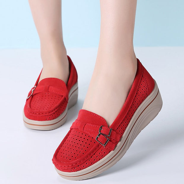 Women's Low Top Wedges Moccasins Platform Rocker Shoes