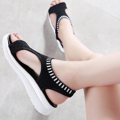 Women Summer Solid Mesh Fabrics Knitting Sandals