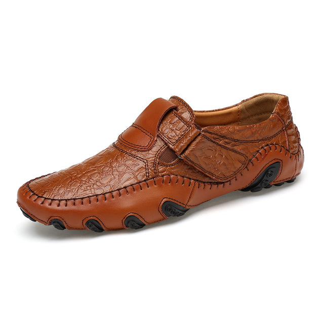 Men's Genuine Leather Round-Toe Flats  Casual Shoes