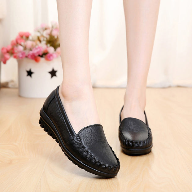Women Solid Soft Genuine Leather Round-Toe Flats