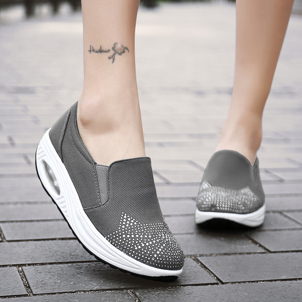 Women Mesh Fabrics Breathable Round-Toe Casual Shoes Flats