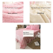 4pcs Solid Suit Thick Autumn and Winter Warm Water Velvet Sheet Cover