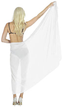 Load image into Gallery viewer, la-leela-sheer-chiffon-long-swim-dress-beach-sarong-solid-72x42-white_1701
