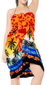 la-leela-swimwear-soft-light-women-bathing-suit-swimsuit-sarong-printed-Palm -tree-Hawaiian-Printed-Orange