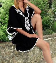 Load image into Gallery viewer, la-leela-bikini-beach-swimsuit-cover-up-women-kimono-dress-embroidered-16-24-xl-3x-black_h470