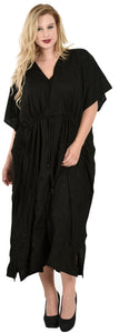 LA LEELA PV Solid Long Caftan Kimono Dress Women Black_2098 OSFM 14-18W [L-2X] Black_R849