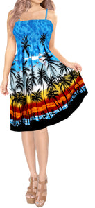 LA-LEELA-Women's-Relaxed-Tube-Dress-halter-top-evening-party-swimsuit-tube-dress-printed-maxi-skirt-beach-backless-sundress-OSFM 0-14 [XS- L]-Blue_Q530