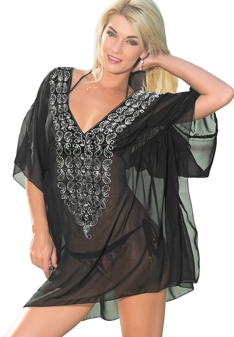 LA LEELA-Women's-Mini-Casual-Loose-Beach-Bikini-Swimsuit-Cover-Ups-Embroidery Black