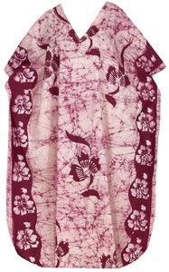 LA LEELA Cotton Batik Printed Women's Kaftan Kimono Summer Beachwear Cover up Dress  Maroon_X896