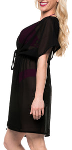 LA LEELA Bikni Swimwear Chiffon Solid Beachwear Loose Cover Up OSFM 16-32 [W-5X] Black_1328