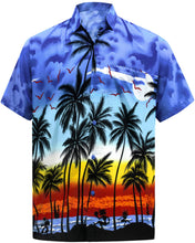 Load image into Gallery viewer, LA LEELA Men's Relaxed fit Beach hawaiian Shirt Aloha Tropical Beach  front Pocket Short sleeve Palm tree printed Blue