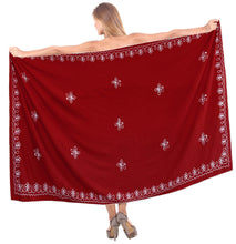 "Load image into Gallery viewer, LA LEELA Rayon Swimwear Towel Womens scaf Wrap Sarong Solid 72""X42"" Red_17 Red_F549"