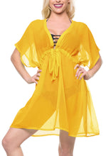 Load image into Gallery viewer, la-leela-bikni-swimwear-chiffon-solid-cover-up-blouse-women-osfm-14-24-l-3x-yellow_856