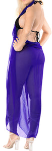 "LA LEELA Sheer Chiffon Cover Up Swim Wrap Sarong Solid 85""X42"" Royal Blue_1717 Blue_C292"