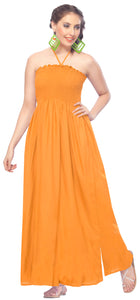 LA LEELA Evening Beach Swimwear Rayon Solid Backless Cover Up Tube Dress Dark Orange 2097 One Size