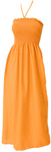 Load image into Gallery viewer, la-leela-evening-beach-swimwear-rayon-solid-backless-cover-up-tube-dress-dark-orange-2097-one-size