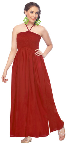 LA LEELA Rayon Solid Maxi Tube Dress Swimsiut Womens Party Red 263 One Size