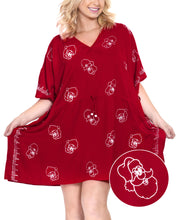 Load image into Gallery viewer, la-leela-christmas-santa-solid-swim-tunic-cover-ups-osfm-14-32-l-5x-red_2493