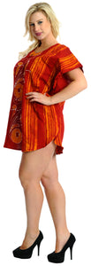LA LEELA Bikni Swimwear Cover ups Cotton Batik Loose Dress Girls OSFM 14-18 [L-2X] Orange_3707