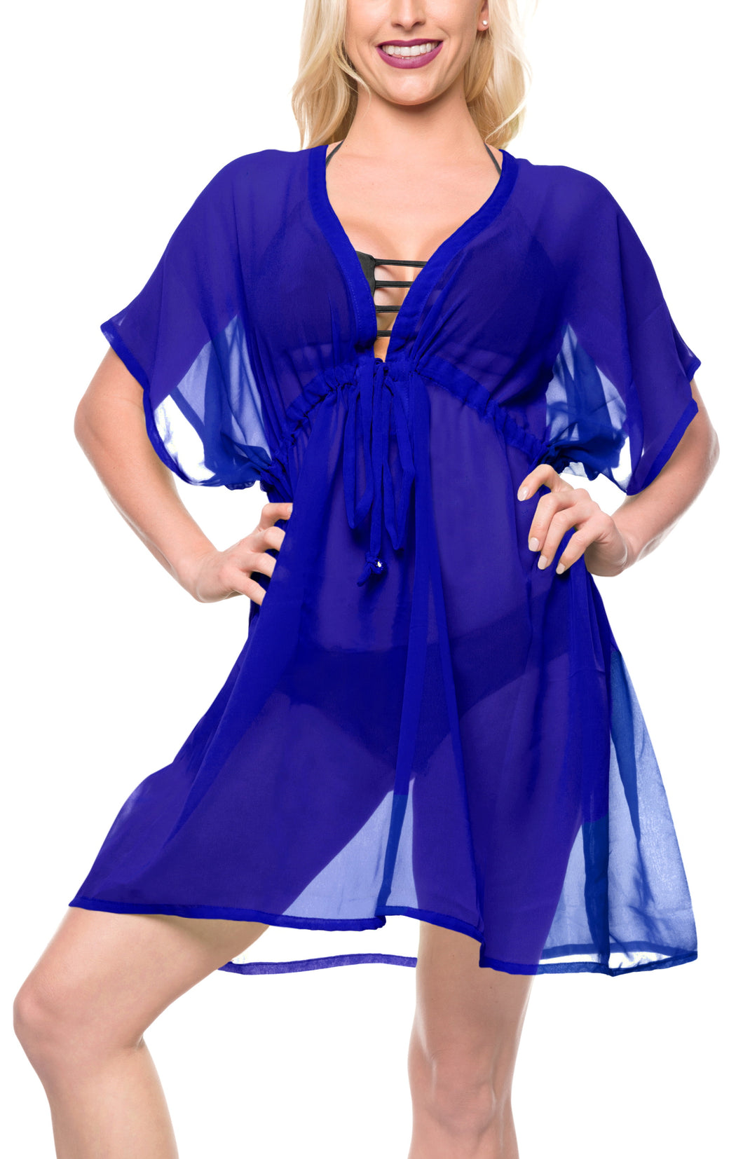 LA LEELA Bikni Swimwear Chiffon Solid Swimsuit Cover Up OSFM 14-24 [L-3X] Royal Blue_926
