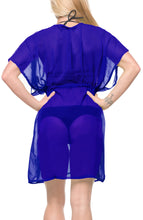 Load image into Gallery viewer, LA LEELA Bikni Swimwear Chiffon Solid Swimsuit Cover Up OSFM 14-24 [L-3X] Royal Blue_926