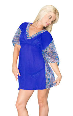 LA LEELA Chiffon Solid Tunic Vintage Cover Up OSFM 10-16 [M-1X] BRIGHT Blue_614 Blue_O572