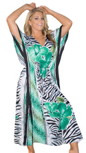 Load image into Gallery viewer, la-leela-lounge-likre-printed-long-caftan-tunic-dress-women-white_99-osfm-14-18w-l-2x