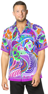 LA LEELA Shirt Casual Button Down Short Sleeve Beach Shirt Men Aloha Pocket 66