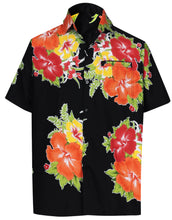 Load image into Gallery viewer, la-leela-mens-casual-beach-hawaiian-shirt-aloha-tropical-beach-front-pocket-short-sleeve-black