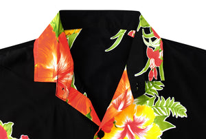 LA LEELA Men's Casual Beach hawaiian Shirt Aloha Tropical Beach  front Pocket Short sleeve Black