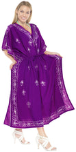 Load image into Gallery viewer, la-leela-rayon-solid-long-caftan-boho-dress-ladies-violet_916-osfm-14-18w-l-2x