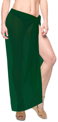 la-leela-sheer-chiffon-women-wrap-beach-sarong-solid-swimsuit-wrap-skirts-full-long-Olive Green_J214