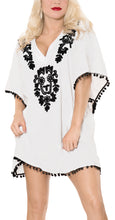 Load image into Gallery viewer, la-leela-swimwear-rayon-solid-bikini-cardigan-cover-up-osfm-16-24-xl-3x-white_3091