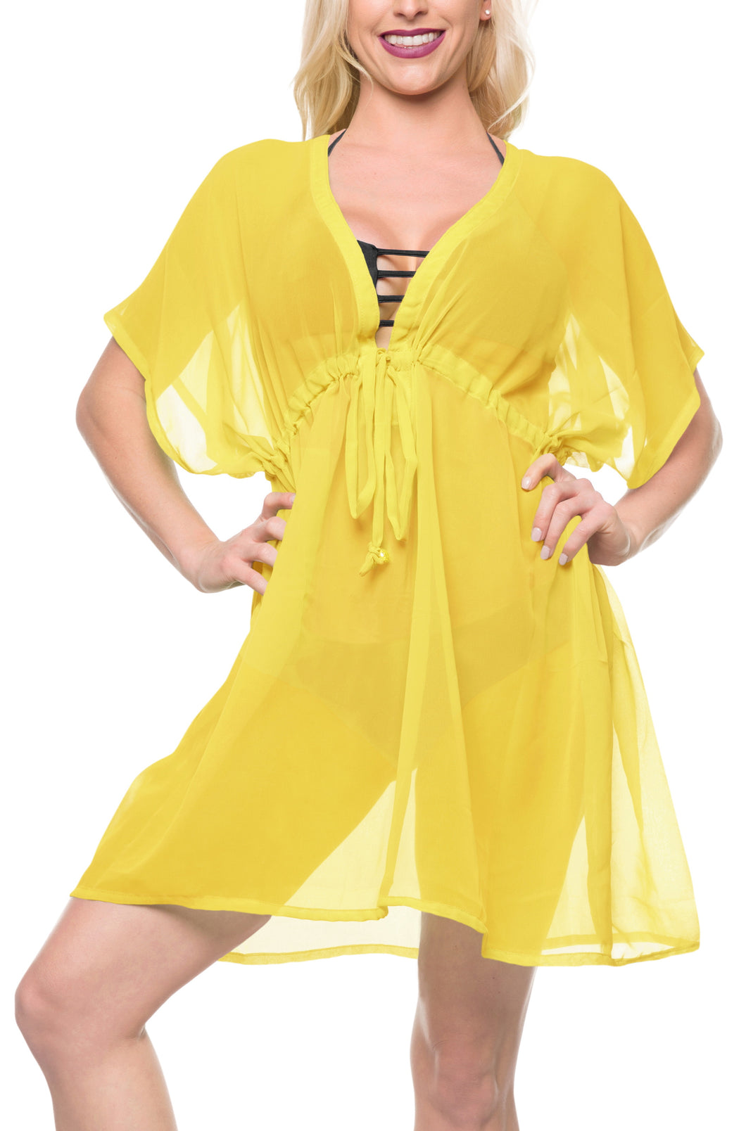 LA LEELA Bikni Swimwear Chiffon Solid Swim Tunic Cover Ups OSFM 14-24 [L-3X] Light Yellow_927