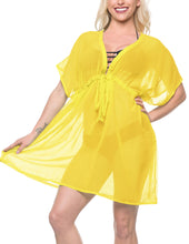 Load image into Gallery viewer, LA LEELA Bikni Swimwear Chiffon Solid Swim Tunic Cover Ups OSFM 14-24 [L-3X] Light Yellow_927