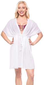 LA LEELA  Swim Beach Bikini Wear Swimsuit Cover up for Women Solid OSFM 14-24 [L-3X] White_H901