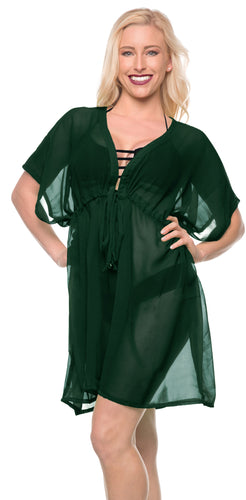 LA LEELA Bikni Swimwear Chiffon Solid Loose Top Cover Up OSFM 14-24 [L-3X] Olive Green_929