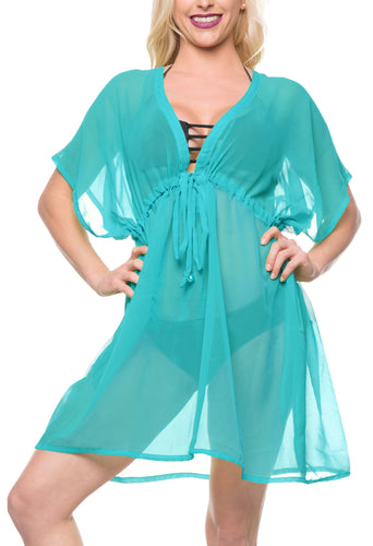 LA LEELA Bikni Swimwear Chiffon Solid Beach Tunic Cover Up OSFM 14-24 [L-3X] Blue_870