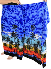 "Load image into Gallery viewer, LA LEELA Men Sarong Soft Light Printed Swimsuit Pareo Towel Boys 72""X42"" Royal Blue_3075"