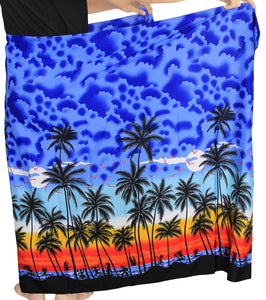 "LA LEELA Men Sarong Soft Light Printed Swimsuit Pareo Towel Boys 72""X42"" Royal Blue_3075"