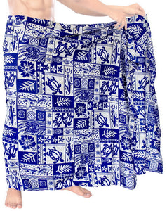 "LA LEELA Men Sarong Soft Light Printed Beach Pareo Bath Mens Wrap 72""X42"" Royal Blue_2659"