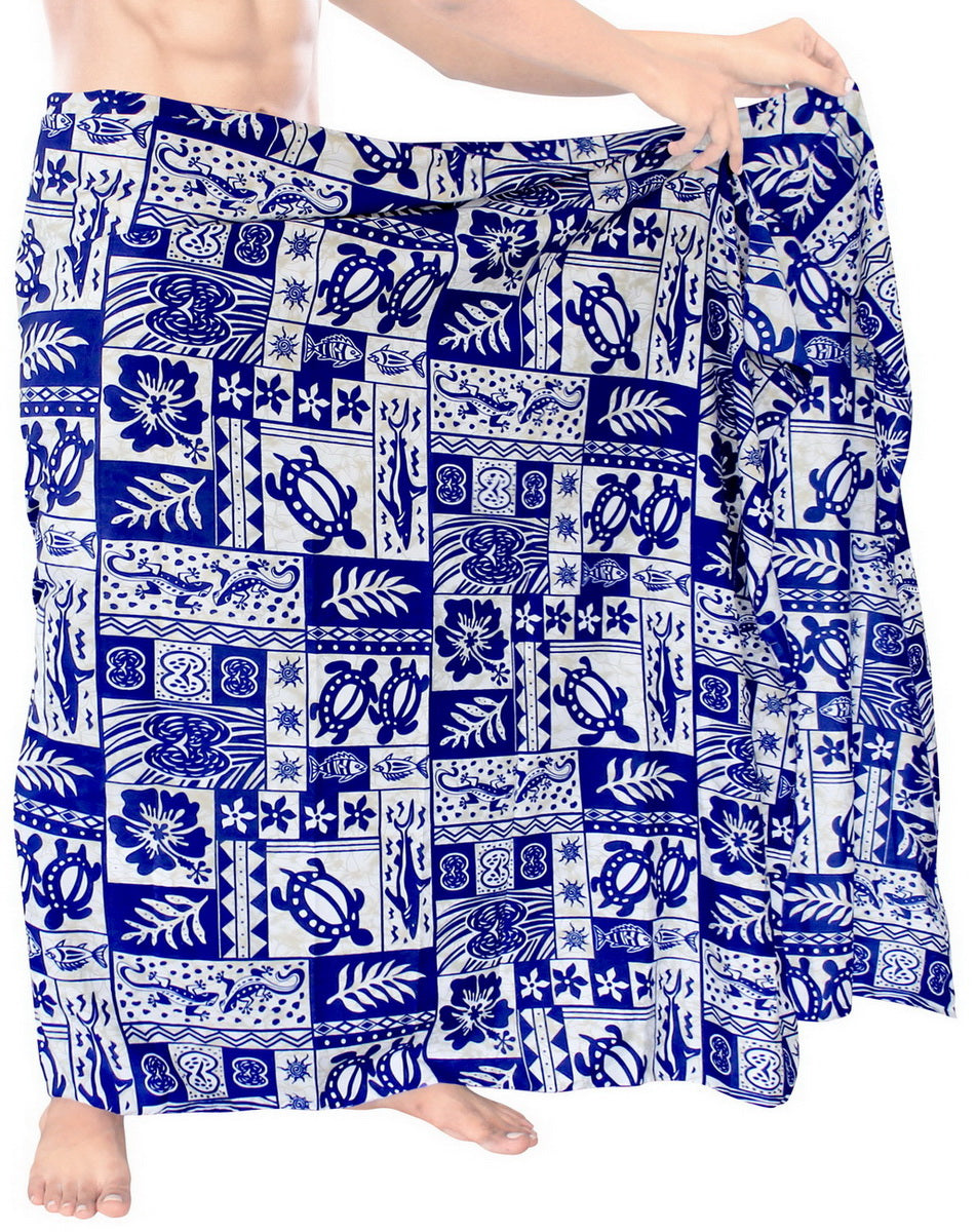 LA LEELA Men Sarong Soft Light Printed Beach Pareo Bath Mens Wrap 72