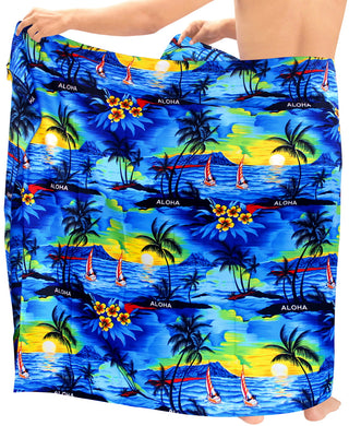 LA LEELA Men Sarong Soft Light Printed Swimsuit Wrap Pareo Mens Beach 72