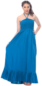 LA LEEL Beach Swimwear Rayon Solid Womens Party Top Skirt Tube Dress Teal Blue 2107 One Size