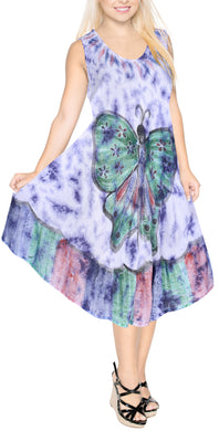 LA LEELA Casual DRESS Beach Cover up Rayon Tie Dye Swimsuit Evening OSFM 14-20 [L-2X] Purple_6132
