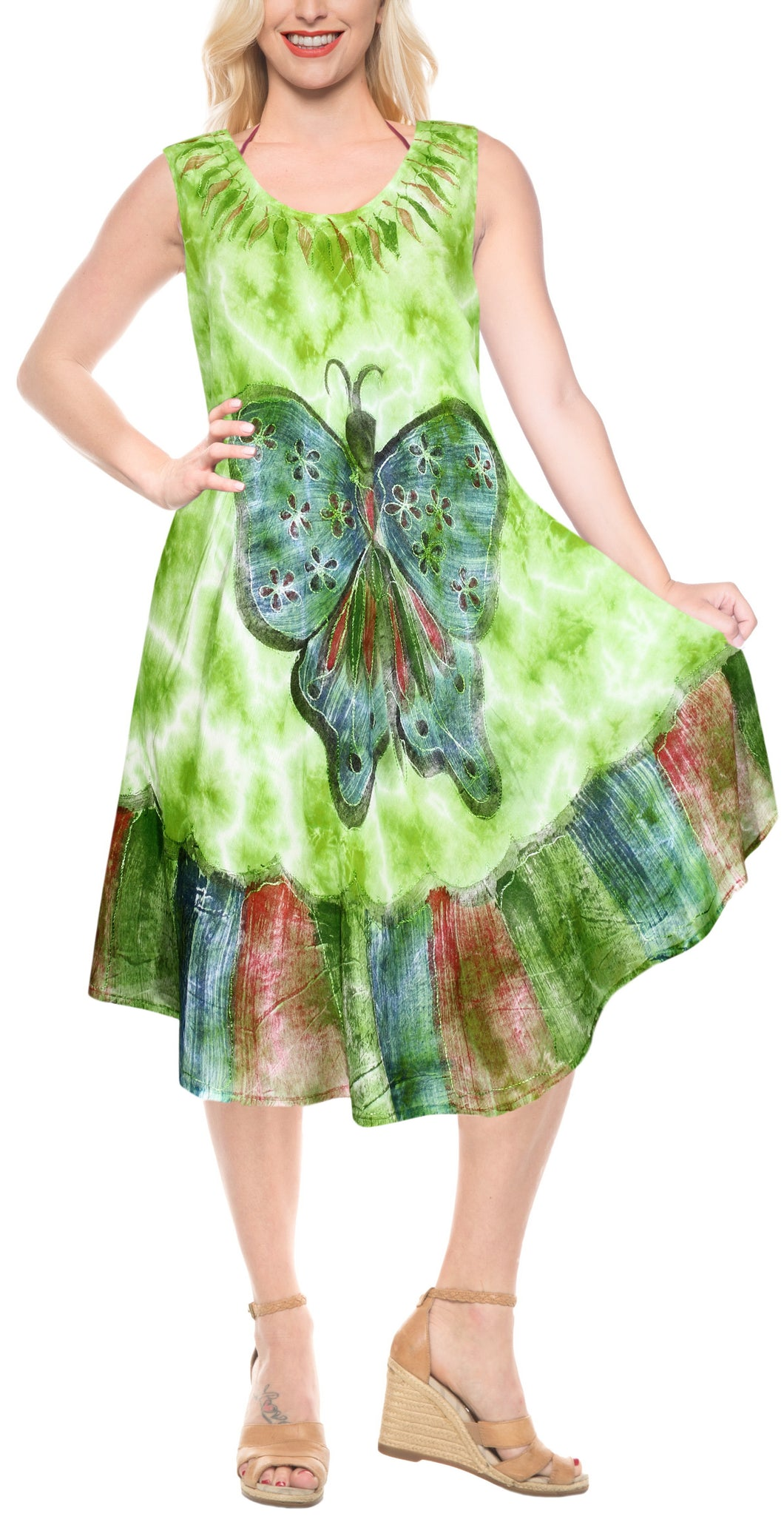 LA LEELA Casual DRESS Beach Cover up Rayon Tie Dye Womens Party OSFM 14-20 [L-2X] Parrot Green_3658