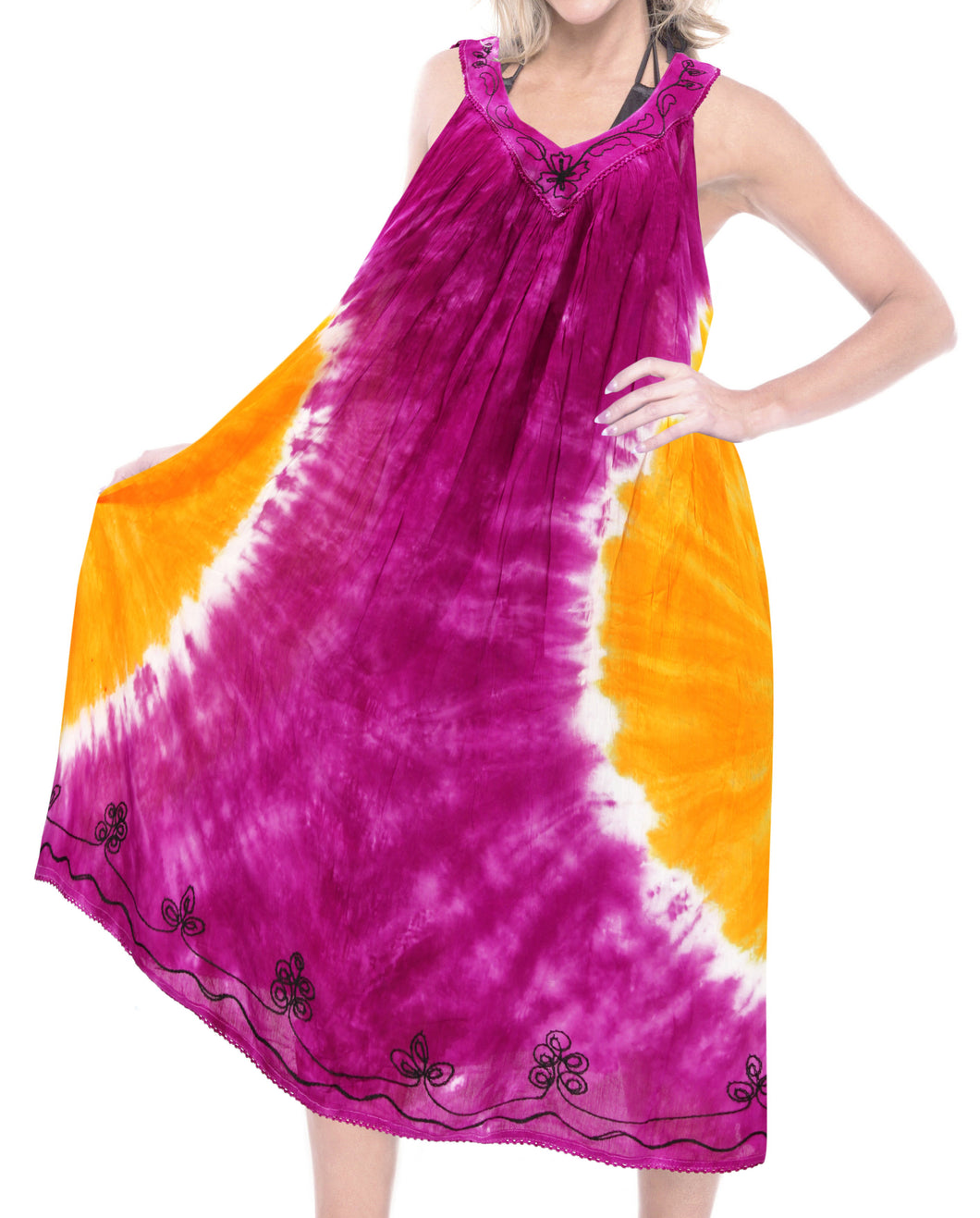la-leela-casual-dress-beach-cover-up-rayon-tie-dye-cruise-length-knee-halter-top-osfm-14-28-l-4x-pink_3663