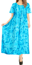 Load image into Gallery viewer, LA LEELA Rayon Tie Dye Beach Formal Beach Casual DRESS Beach Cover up Womens  Teal Blue 117 One Size